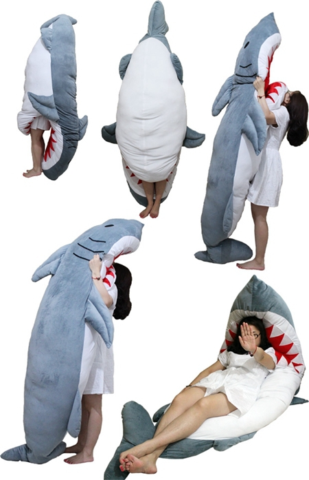 220cm long hugh shark stuffed toy household spare bed sleeping bag Creative  home birthday gift Decoration accessories free ship-in Beds from Furniture  on ...