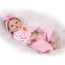 2016 New 22 Inches 55cm Kawaii Silicone Doll Reborn Baby Realistic Reborn Babies Alive Girls Kids Gift Dolls Brinquedos Juguetes