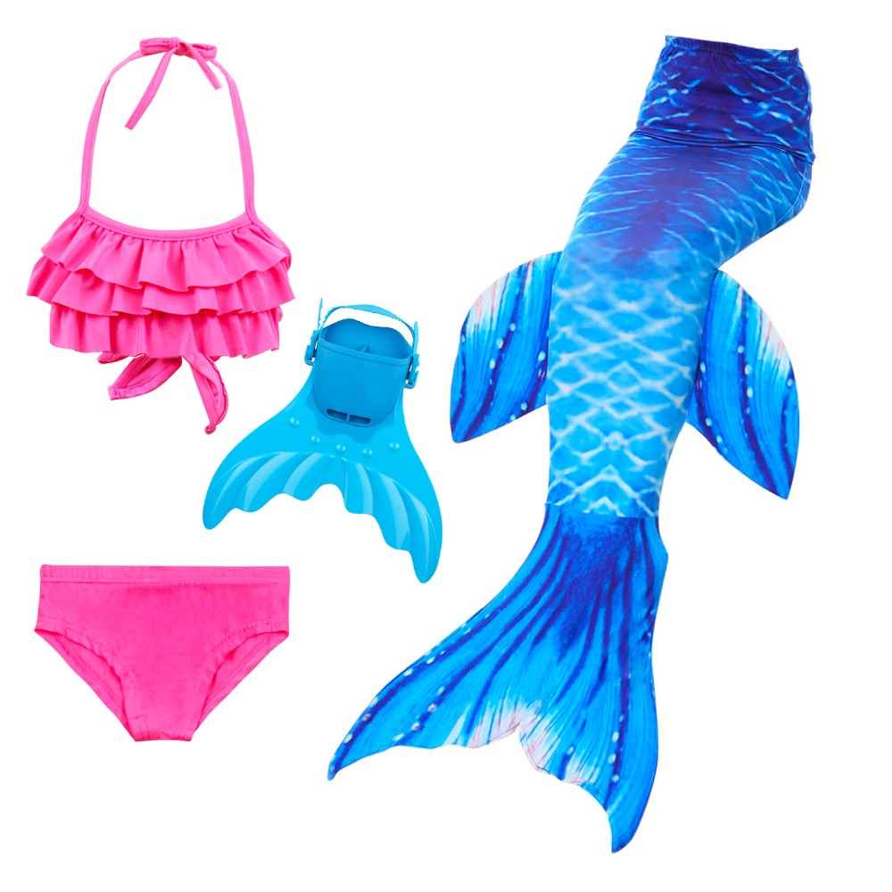 Girls Kids Children Mermaid Tails for Swimming Costume Cosplay Swimmable Bikini Bathing Suit Little Mermaid Tail Swimsuit