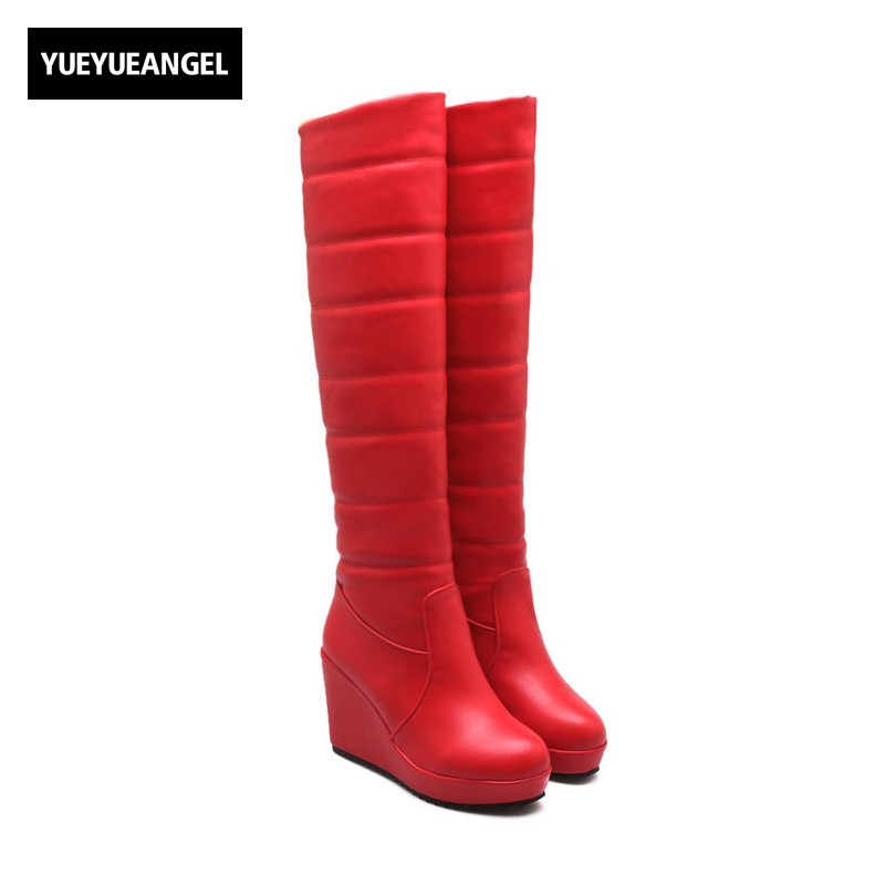 New Arrival Winter Women Snow Boots Round Toe Warm Pumps For Women Wedges Shoes Femme Knee High Boots Slip On White Black Red enmayer low heels wedges shoes woman slip on knee high boots for women round toe winter warm boots tassels charms platform shoes