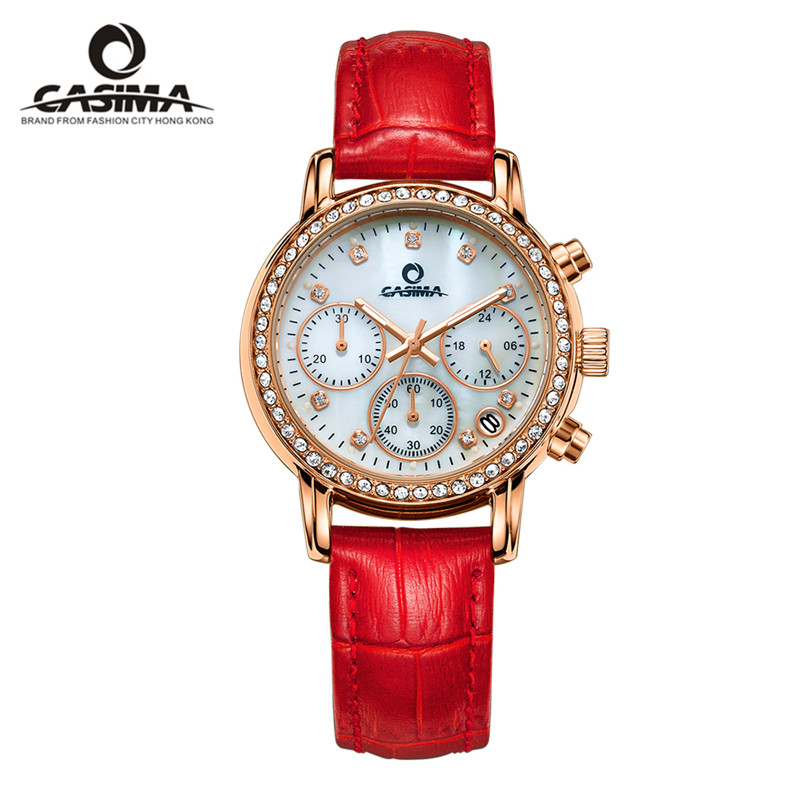 Relogio feminino watches women leather diamond quartz watch fashion multi functional ladies wristwatch waterproof CASIMA 2603