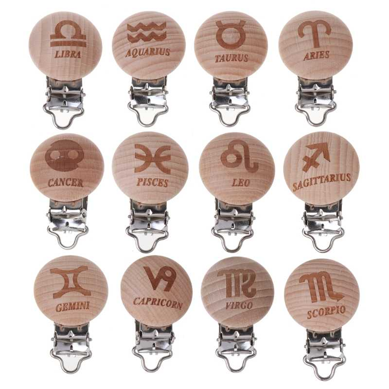 12 douze Constellations attache sucette en bois zodiaque hêtre bois attache sucette de bébé Clips factices bricolage sucette chaîne
