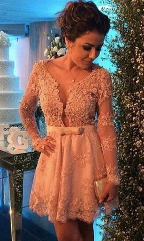 Long Sleeves 2019 Elegant Cocktail Dresses A-line V-neck Short Mini Lace Pearls Party Plus Size Homecoming Dresses
