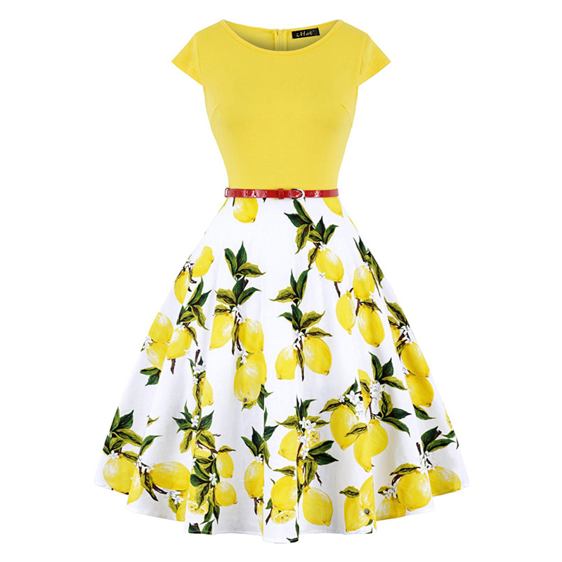 MISSJOY Plus Size 4XL Dress Kleding Vrouwen Vintage Elegant Cap Sleeve Lemon Flower Print Pin Up Fashionable Dresses Kerst Jurk