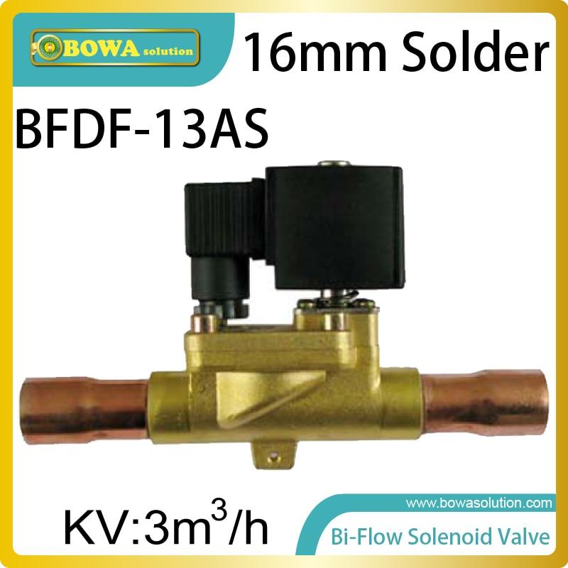 16mm solder Bi-flow solenoid valves optimize pipeline design of constant temperature equipment by switch evaporator & condenser цена 2017