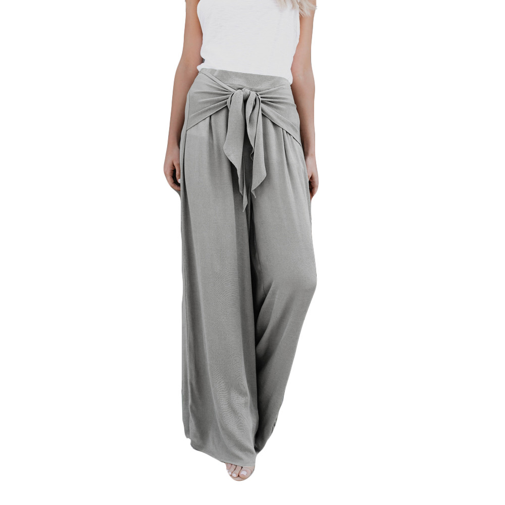 Women Fashion Casual Loose High Waist   Wide     Leg   Bell Bottom Palazzo Flare   Pants   2018 New Arrival Fasion Summer   wide     leg     pants