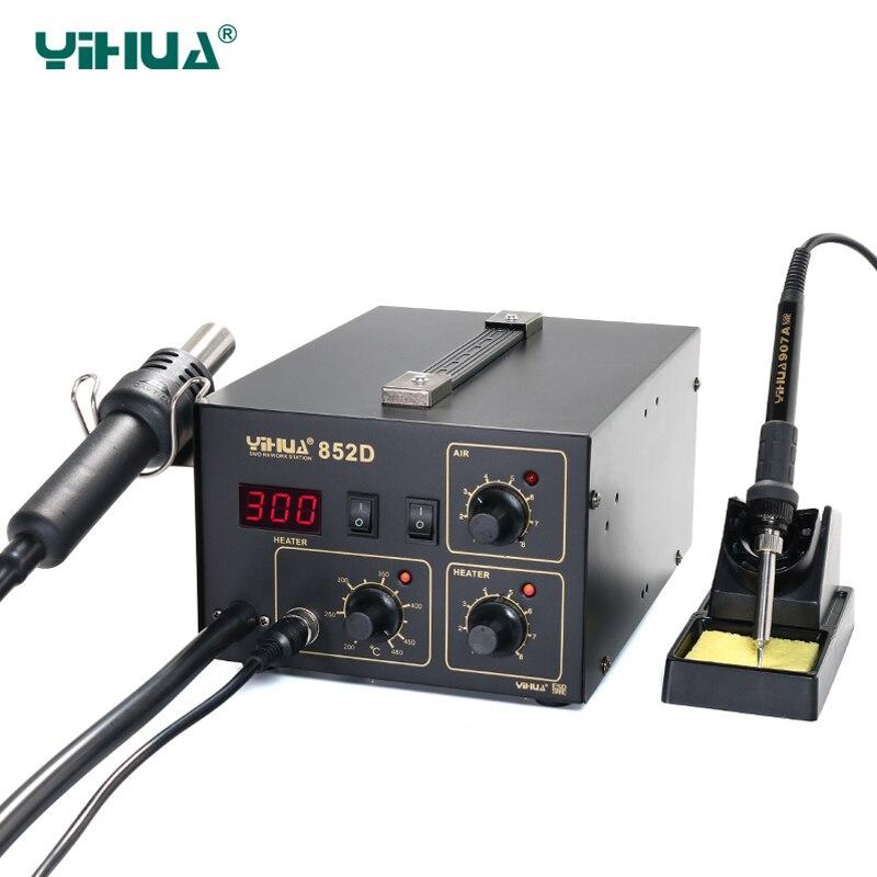 YIHUA 852D Stations de soudage bonne stabilité de la température fer à souder pompe à souder diaphragme Station de soudage à l'air 3 buses