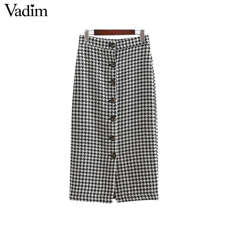 Vadim Women Vintage Plaid Midi Skirt Faldas Mujer Houndstooth Buttons Retro Ladies Office Wear Casual Chic Skirts Ba138
