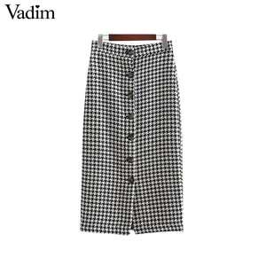 Vadim women vintage plaid midi skirt buttons ladies office