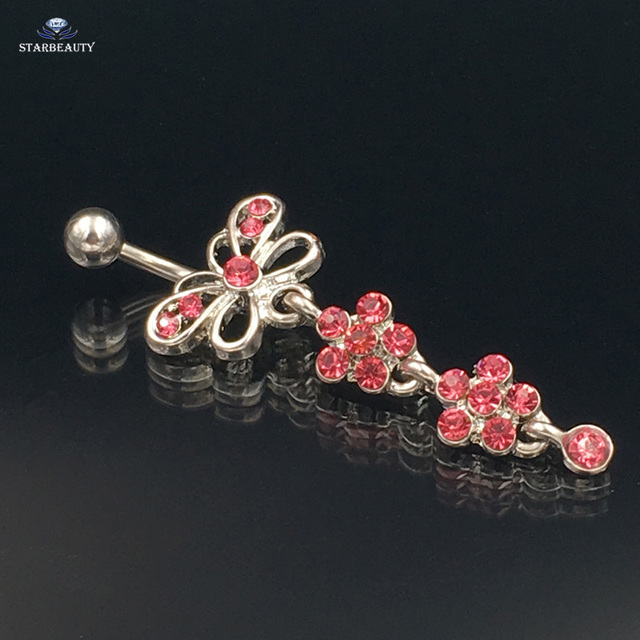 Us 1 29 35 Off Pink Butterfly Navel Piercing Ombligo Navel Ring Flower Belly Button Rings Plum Blossom Dangle Belly Piercing Nombril Pircing On