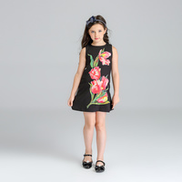 High Quality Girls Dresses Princess Dress Sleeveless Girls Clothes Beautiful Floral Printed Costumes Children Clothing