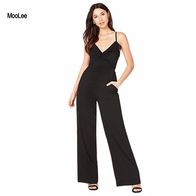 047dbb59aac Women Black Jumpsuits Slim Ruffles Spaghetti Strap Playsuits Wide Leg Long  Pants V-neck Women Jumpsuits Work Wear Overalls 2017