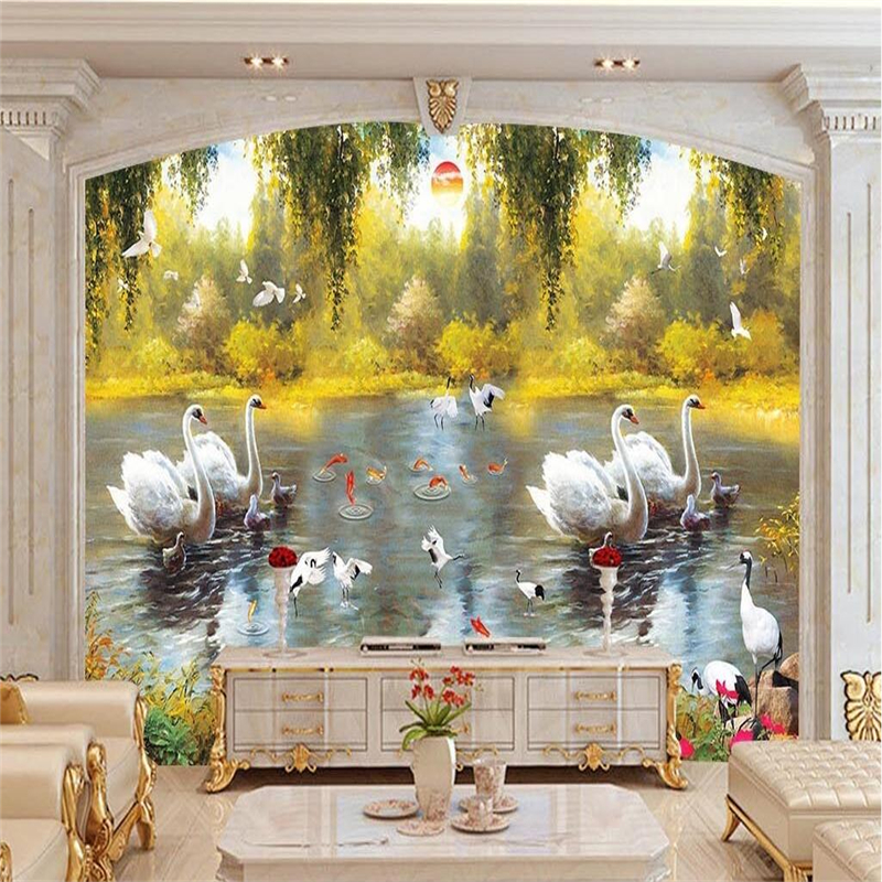 European Wallpapers 3D Stereoscopic Swan Lake Painting Photo Wall Mural Autumn Wallpapers Wall Papers for Living Room Home Decor beibehang modern luxury circle design wallpaper 3d stereoscopic mural wallpapers non woven home decor wallpapers flocking wa