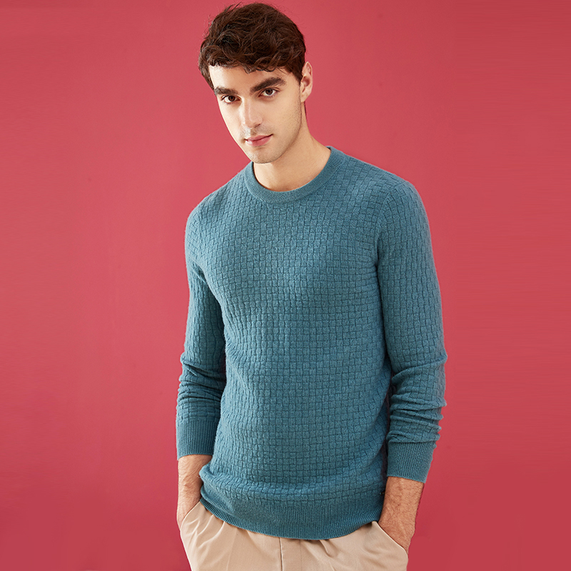 ZHILI Men's Crew Neck Pure Color Pullover Cashmere Sweater