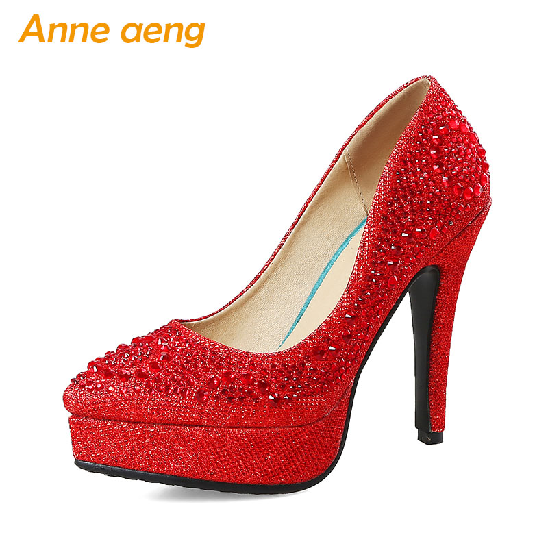 women pumps high heel bling platform wedding shoes crystal sequined cloth sweet bridal shoes red silver gold women shoes aidocrysta bling bling crystal high heel shoes glitter blue platform rhinestone wedding shoes women