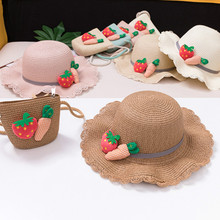 New summer sun hat girls children straw hat children's beach hat bag strawberry carrot handbag handbag suit