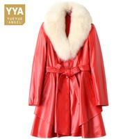 Luxury Women Winter Fox Fur Collar Long Jacket 100% Real Leather Sashes Slim Fit Office Lady Outwear Coat Jaqueta De Couro Red