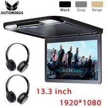 13.3 pollici Auto di Vibrazione Imbottiture Monitor Video Player 1920*1080P Full HD TFT Dellautomobile Dello Schermo LCD TV 2 cuffia Senza Fili di IR USB SD HDMI MP5