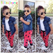 3Piece/2-8Years/Spring Autumn Baby Boys Clothes For Kids Costume Casual Cowboy Shirt+T-shirt+Pants Children Clothing Sets BC1154