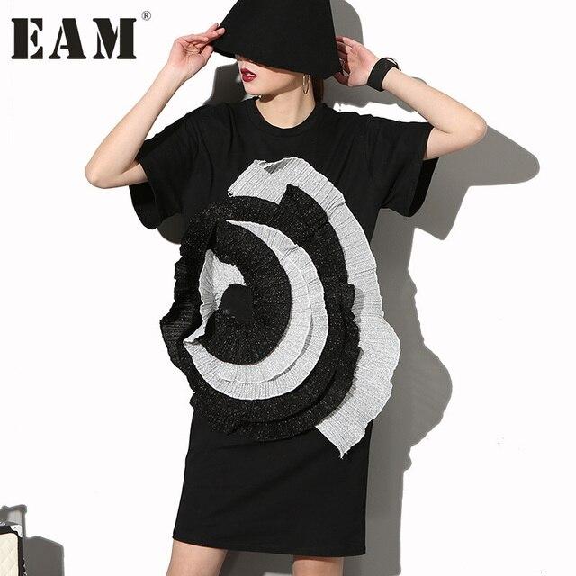 [EAM] Мода 2017 г. новый уровень стерео крупные цветы круглый Средства ухода за кожей шеи с короткими рукавами Платье черного цвета женщина большой Размеры SM12731