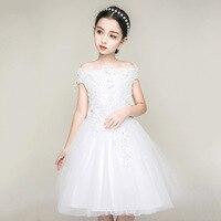 White Kids Wedding Dress Flowe Girls Pink Shoulderless 2019 Girls Vestido Infantil Kid Clothes 5 7 9 11 13 14 Year Old RKF184071