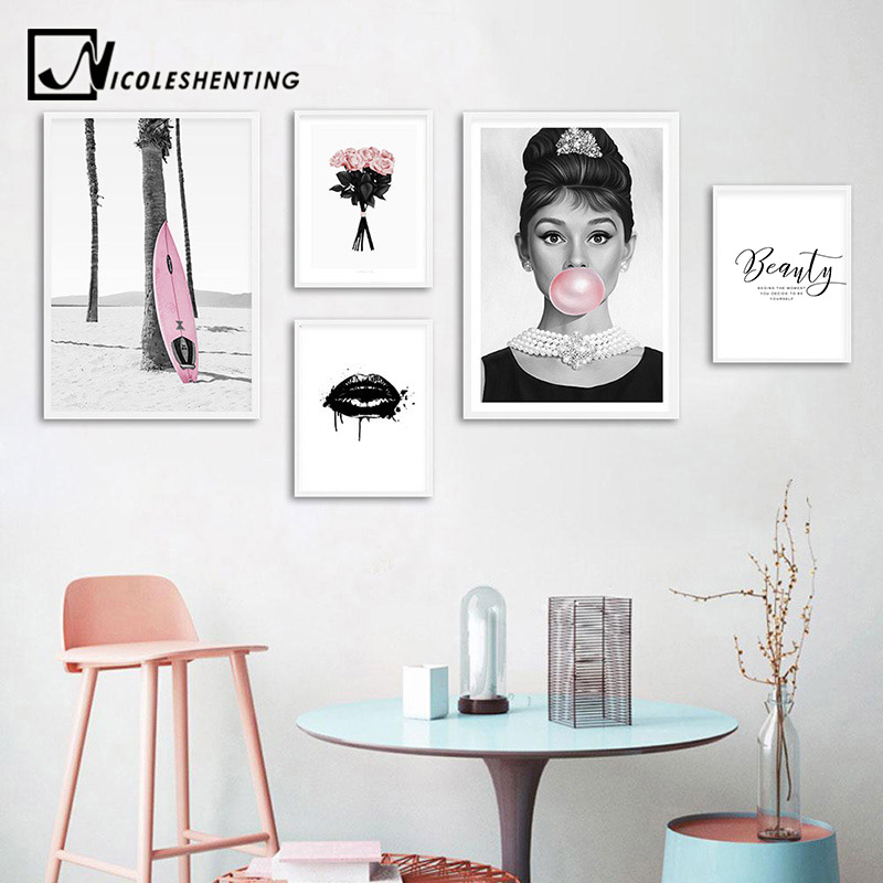 Audrey Hepburn Bubble Fashion Poster Black White Pop Art Nordic Wall Painting Print Minimalist Decoration Picture Living Room