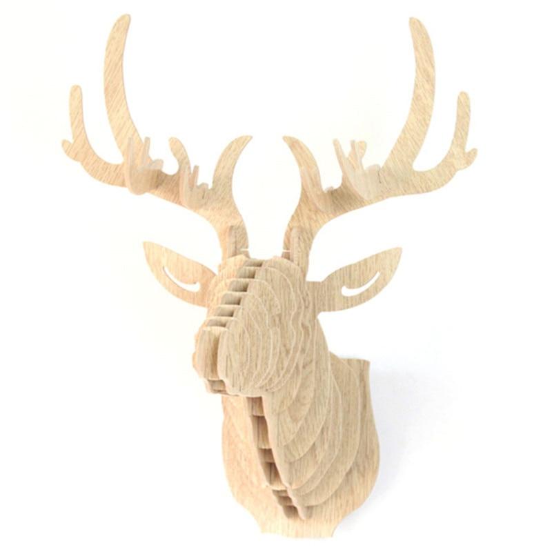 Wooden Deer Head Moose Wall Art Hanging 3D Stag Head Antlers Trophy Home Decor ботинки grinders stag киев
