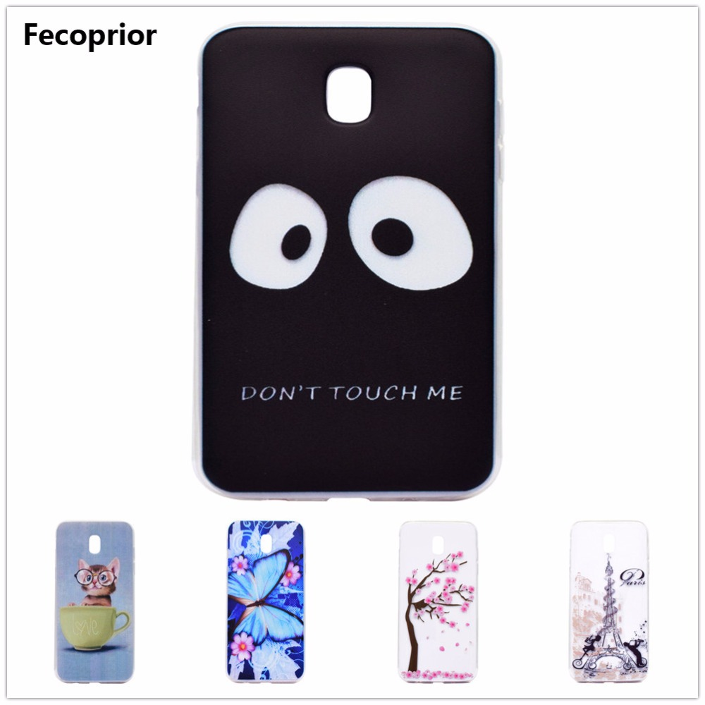 Galleria fotografica Fecoprior J330 TPU Soft Back Cover Case For Samsung Galaxy J3 2017 J330 Eye Cat Tree Tower Butterfly Phone Celulars Coque Fundas