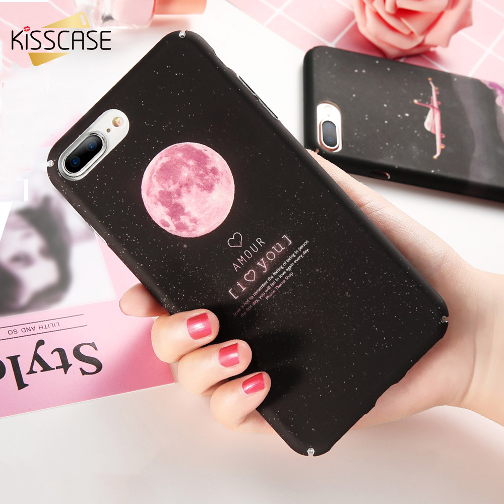 Galleria fotografica KISSCASE Space Moon Case For iPhone 6 6s 7 Plus Hard PC Cover For iPhone X 5 5s SE 6 6s 7 Plus Full Coverage Smartphone Capinhas
