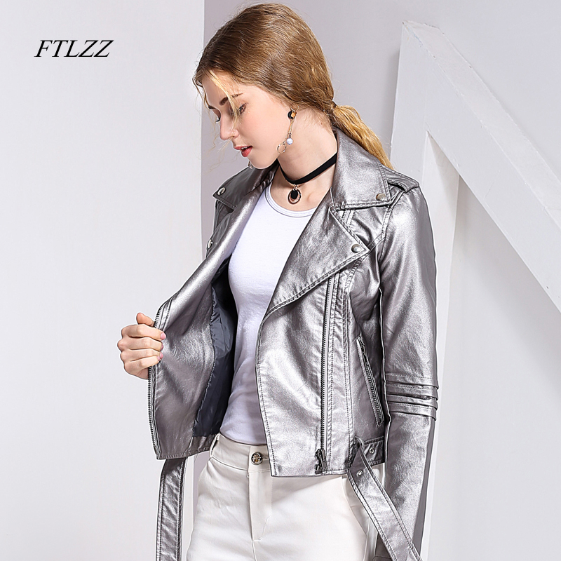 Ftlzz   Leather   Jacket Women Spring Short Soft Pu Biker   Leather   Jackets Slim Punk Fashion Washed Motor Outwear Coat Female Tops
