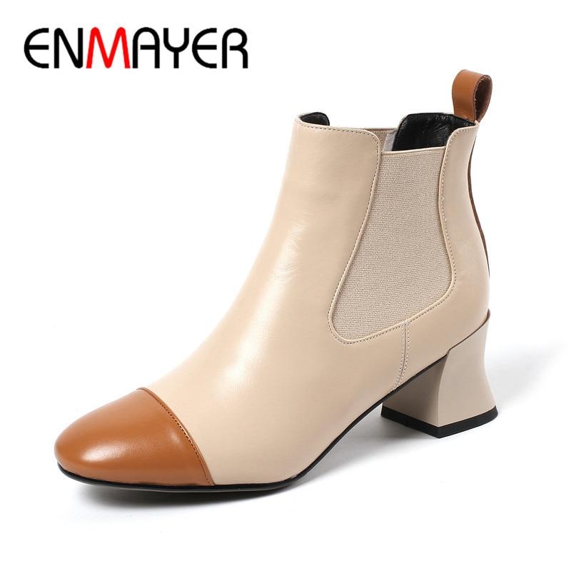 Apricot Hiver Parti Chaussures Rencontre À Sur Mariage black Cy076 Pour Véritable Femme Hauts Bateau En De Cuir Enmayer Automne Talons Bottines HnBOaEwqCx