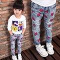 2 - 8 ano de idade do bebê jeans menina primavera e outono crianças casuais calças de brim personalizado impressão
