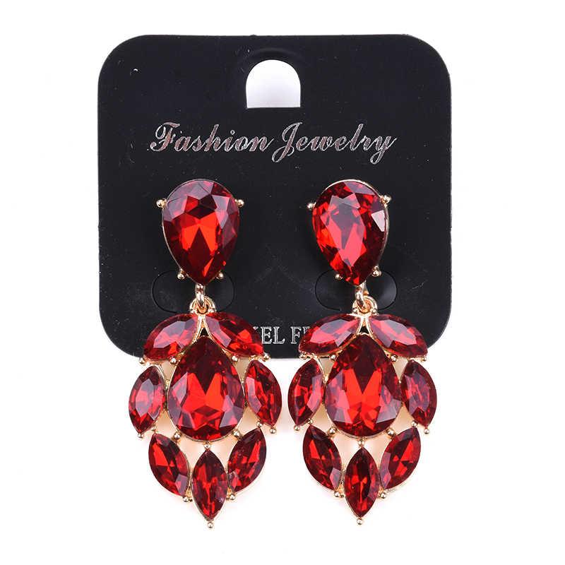 2019 New Merah Kaca Pernyataan DROP Merek Desain Vintage Emas Logam Starburst Liontin Anting-Anting Anting-Anting Perhiasan