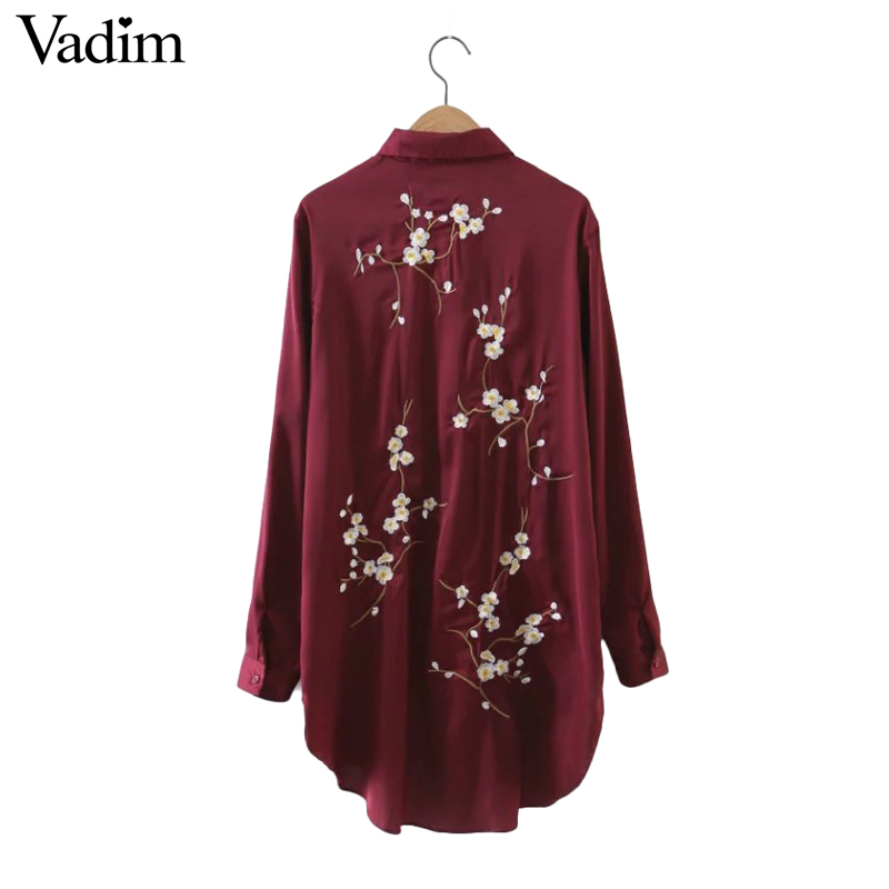 Women back sweet floral embroidery long shirt dress long Women s long sleeve shirt dress