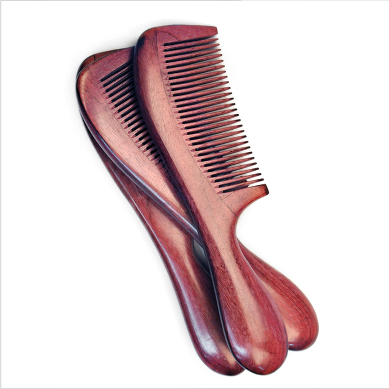 गर्म बिक्री विरोधी स्थैतिक हस्तशिल्प प्राकृतिक बैंगनी लकड़ी चप्पल बाल कंघी ठीक कंघी गोल संभाल लकड़ी Detangling बाल कंघी ब्रश