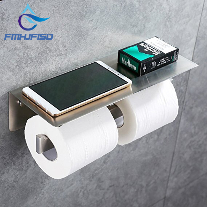 Double Toilet Paper Holder 304 Stainless Steel Bathroom Paper Tissue Holder With Mobile Phone Storage Shelf Rack Brushed Nickel everso wall mounted toilet paper holder with shelf stainless steel toilet roll paper holder tissue holder bathroom accessories
