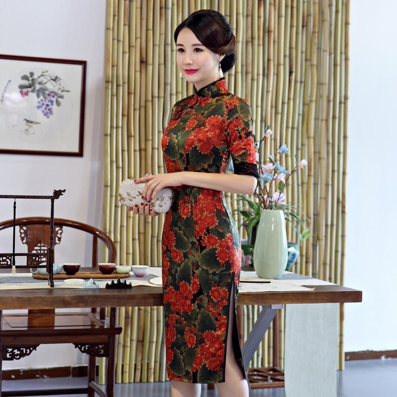 Rayon Chinesischen Qipao Kleid D Mode Sexy Knielangen Frauen Cheongsam Stehkragen Lady Stil 9ID2EH