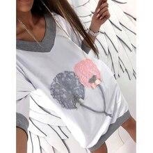 2018 New Arrivals Grey White Long Sleeve Autumn Women Casual Mini Shirt Dress Kawaii Pink Grey Balloon Print Tee Shirt Dress