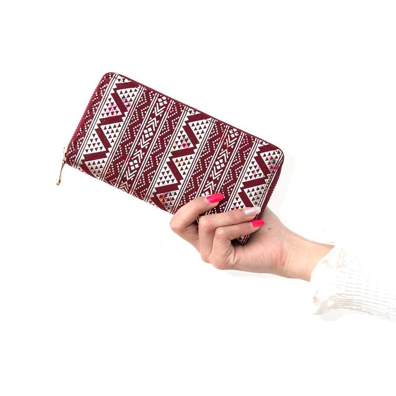 Fashion Canvas National Patterns Women Purse Casual Zipper Ladies Money Bag Clutch Coin Purse ID Holder Wallet