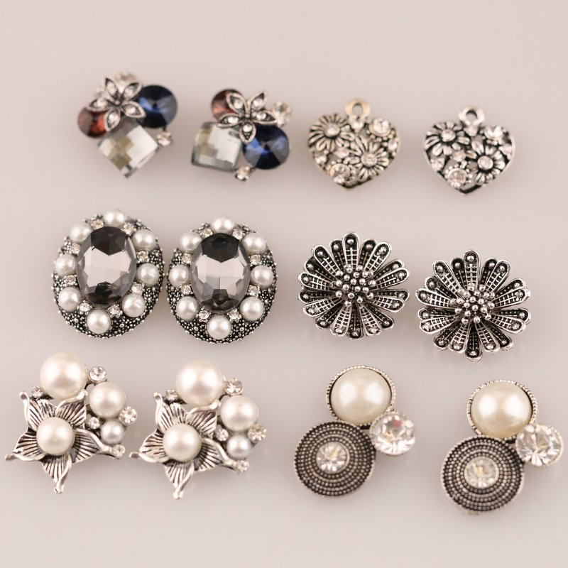 Rhinestone Buttons 10PCs Plastic Buttons Sewing Scrapbooking Shank Buttons Sewing Accessories (10pcs /lot