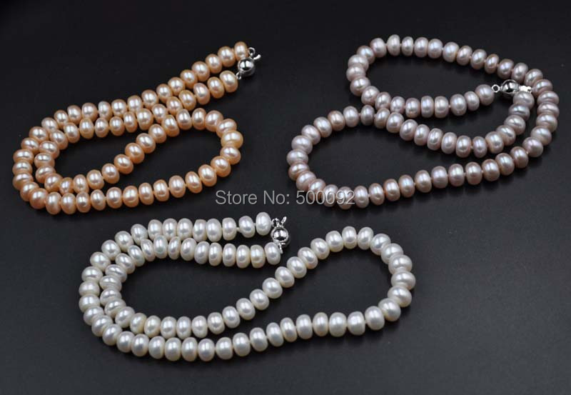 wholesale lots 12 strands white pink lavender fine pearl necklace 8 9mm free shipping