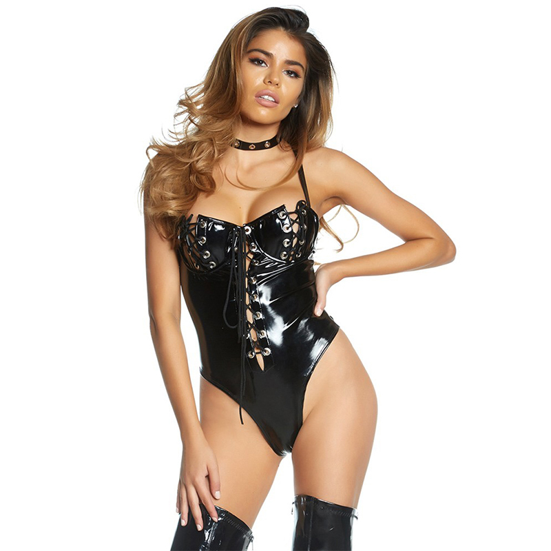 4feb6c3a5202 Black Wet look Vinyl Lace Up Backless Bodysuit Women Punk Rock Clubwear  Sleeveless Leotard Pole Dance