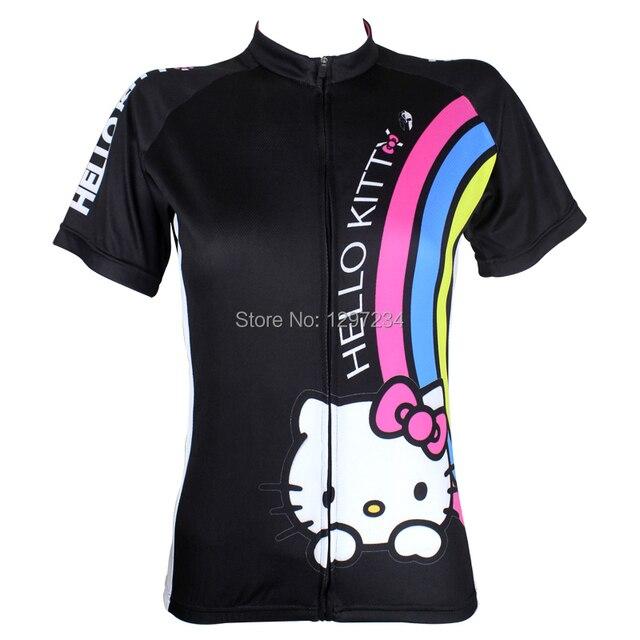 2016 de las nuevas mujeres de hello kitty pink ciclismo jersey blanco hello  kitty camiseta ciclismo b0159eb22