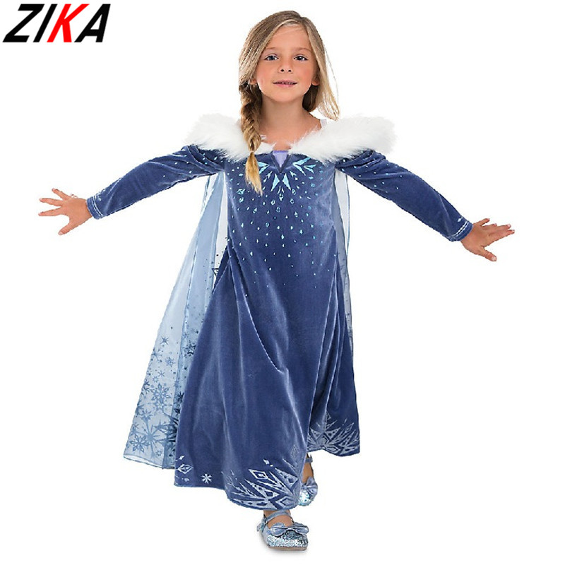 ZIKA New Baby Girl Anna Elsa Dresses 3-10y Girl Printing Princess Wedding Party Costume Kids Cute Party Easter Dress Clothing baby girls white dresses for wedding and party wear girl princess dress kids lace clothes children costume age 3 4 5 6 7 8 9 10