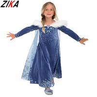 ZIKA New Baby Girl Anna Elsa Dresses 3 10y Girl Printing Princess Wedding Party Costume Kids