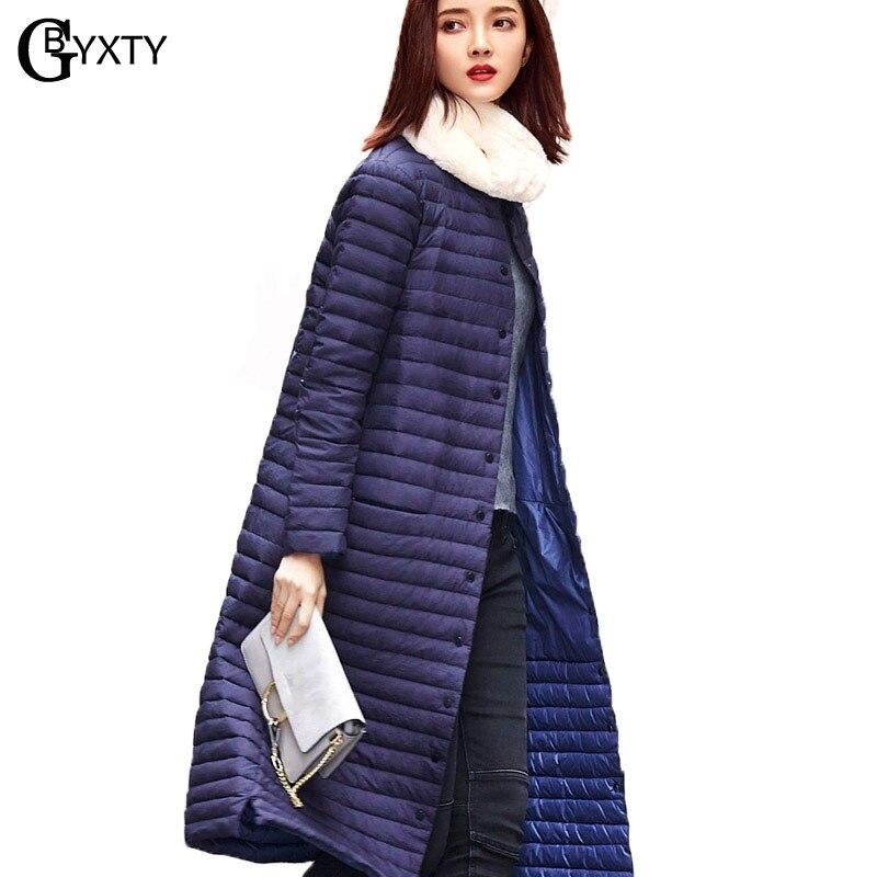 GBYXTY Ultra Ligh   Down   Jacket 2018 Autumn Winter Women Long Single Breasted Ultra Thin Duck   Down     Coat   parka mujer feminina ZA716