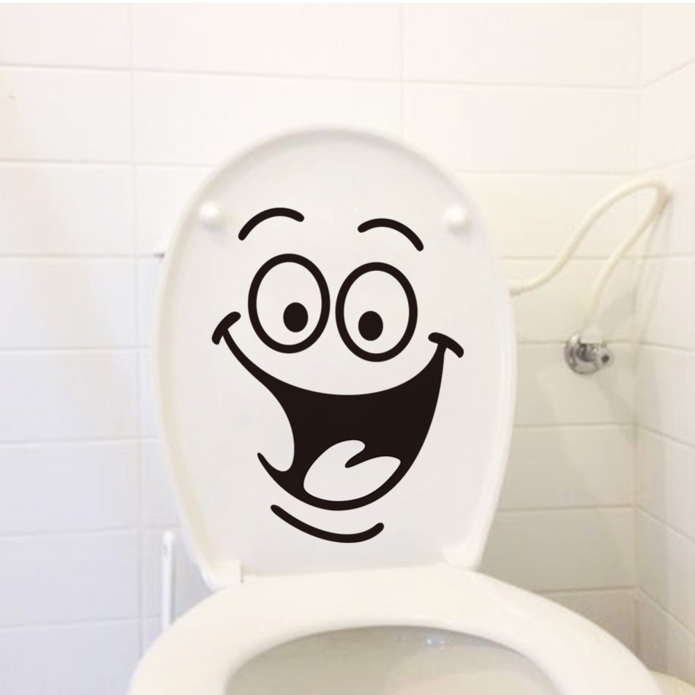 Wall Stickers selling SMILE Happy smiling face toilet stickers decor wall stickers foreign trade monochrome stickers in Wall Stickers from Home Garden