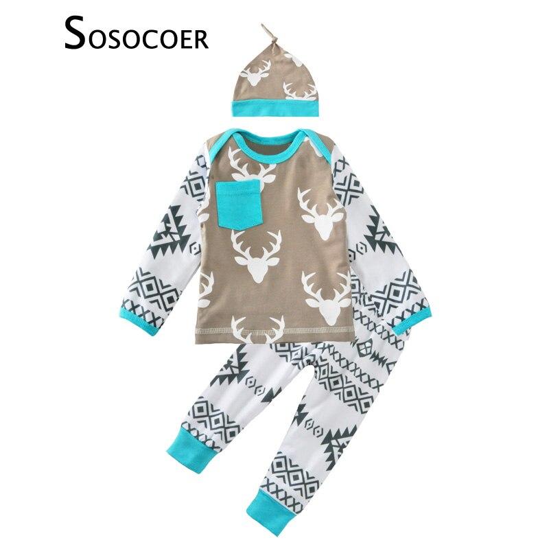 ⊱Bebé del fútbol ropa Navidad ciervos camiseta + geometría ...