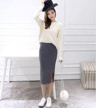 Summer skirts Sexy Chic Pencil Skirts Women Skirt Wool Rib Knit Long Skirt Package Hip Split Waist midi skirt maxi A919