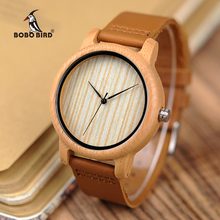 BOBO BIRD V A19 A21 Mens Womens Bamboo Watch Wood Dial Quartz Wristwatch with Leather Strap